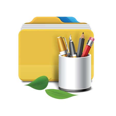 caja de la pluma y el archivo Ilustración de vector