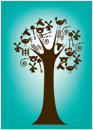 peahen: tree with farming icons