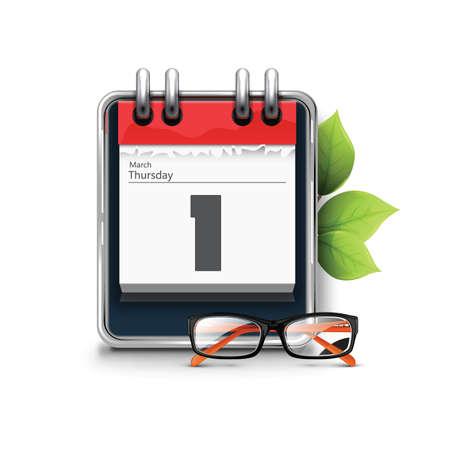 almanac: calendar with spectacles Illustration