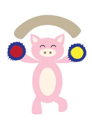 pom pom: pig cheering