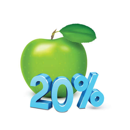 20: apple with 20 percent discount Illustration