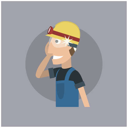 spectacles: worker with head torch and spectacles