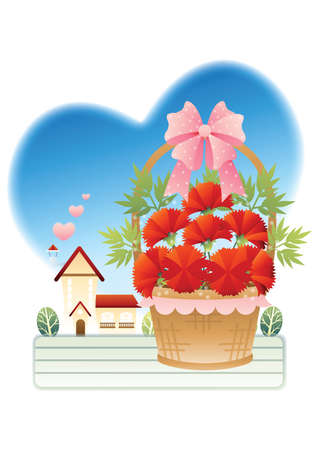baskets: basket of flowers Illustration