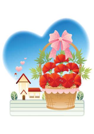 basket of flowers Vektoros illusztráció