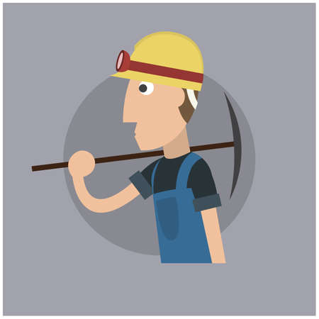 pickaxe: worker with pickaxe tool