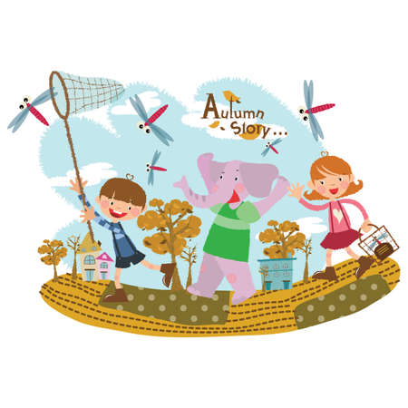 catching: children catching dragonflies Illustration