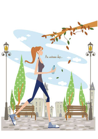 jogging in park: girl jogging in a park