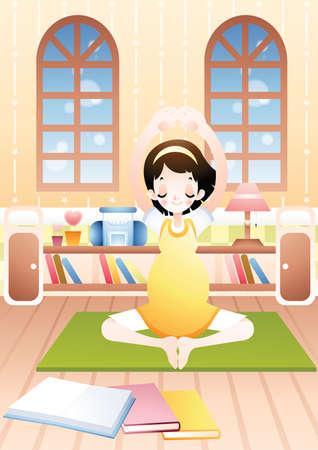 pregnancy yoga: pregnant woman doing yoga Illustration