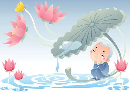 monnik zittend onder lotusblad