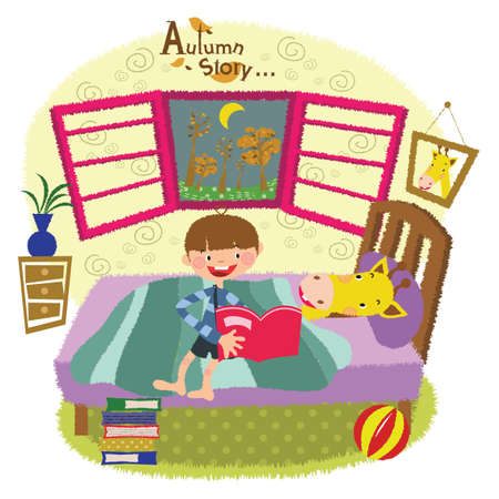 bedtime story: a boy reading a bedtime story to a giraffe