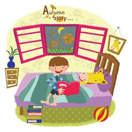 a boy reading a bedtime story to a giraffe