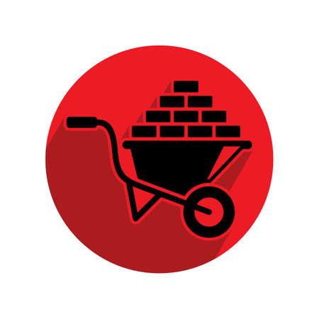 wheel barrow: wheel barrow with bricks Illustration