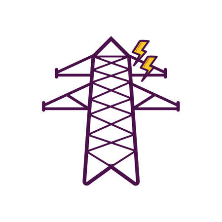 power transformer: electricity transmission tower Illustration