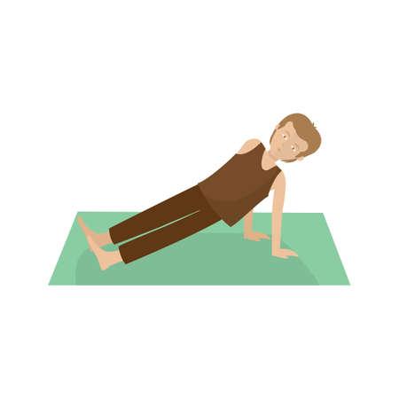 upward: man practising yoga in upward plank pose Illustration