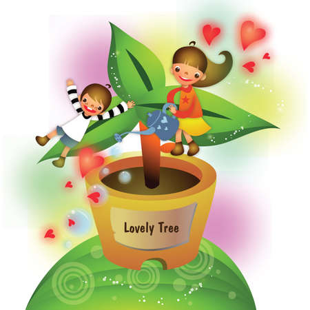 sapling: children watering a tree sapling
