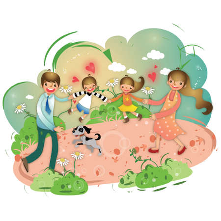 family playing: family playing in a park Illustration