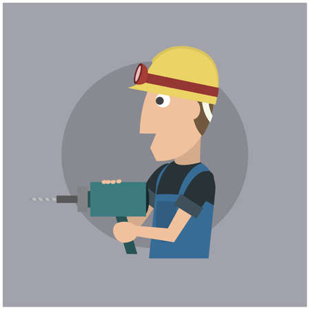 hole: worker with hole driller Illustration