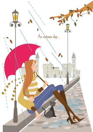 girl in rain: girl with an umbrella under the rain