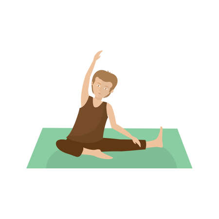 revolved: man practising yoga in revolved head-to-knee sequence Illustration
