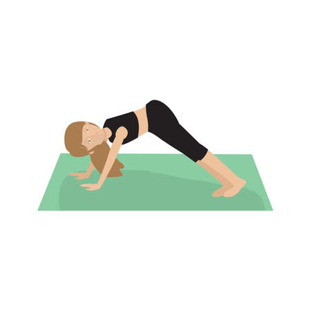 downward: girl practising yoga in downward dog pose
