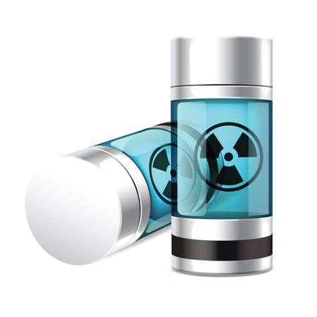 放射性シリンダー容器の図。  イラスト・ベクター素材