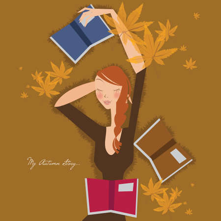 laying down: girl laying down with books Illustration