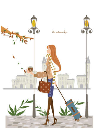 luggage bag: girl standing with a luggage bag