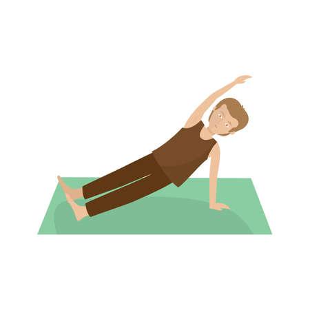 hombre practicando yoga en tabla lateral pose
