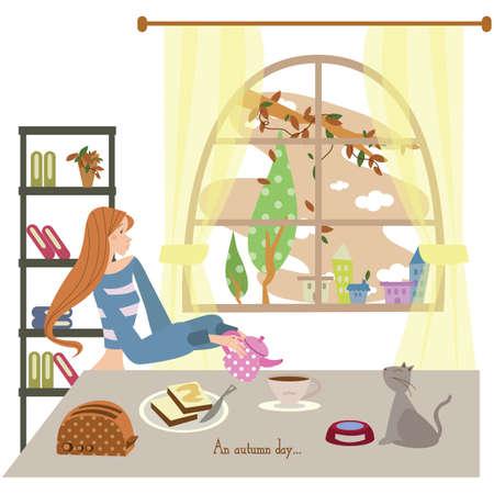 book racks: girl having breakfast with her cat Illustration