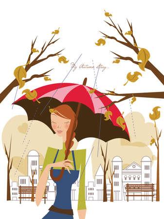 girl in rain: girl holding an umbrella under the rain