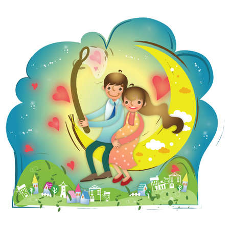 moon  metropolis: couple sitting on a moon Illustration