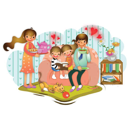 family  room: family in a living room