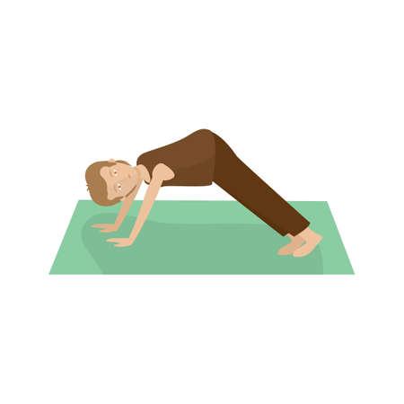 dog pose: man practising yoga in downward dog pose