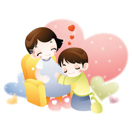 husband and wife: husband hugs his pregnant wife