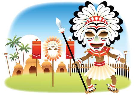 village man: tribal man and village Illustration