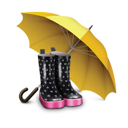 bottes de pluie avec le parapluie