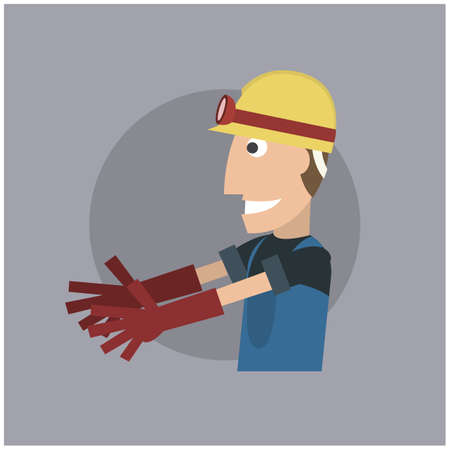 hand gloves: worker with hand gloves Illustration