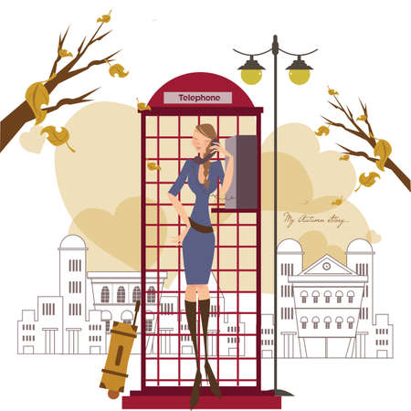 telephone booth: girl at a telephone booth