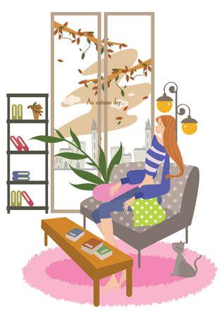 girl sitting: girl sitting on a chair Illustration