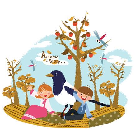 autumn tree: autumn season Illustration