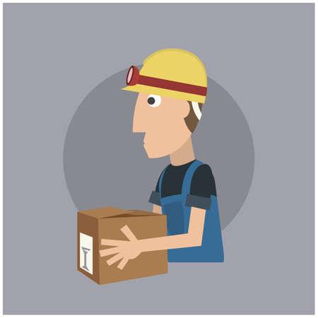 cardboard: worker with cardboard box