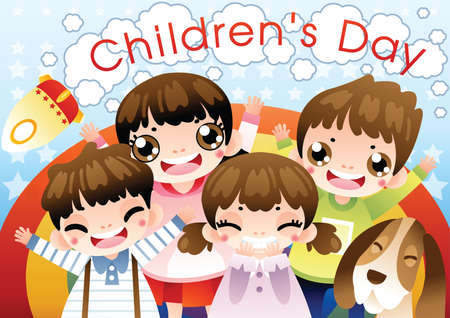 childrens day: childrens day background design Illustration