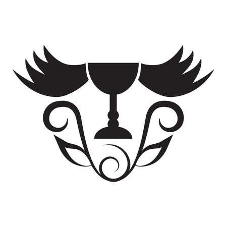 goblet: goblet with wings tattoo design Illustration
