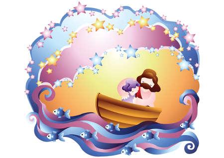 Jesus tröstet ein Mädchen auf einem Boot