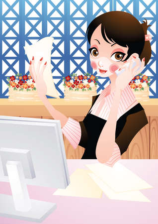 woman on phone: young woman speaking on phone Illustration