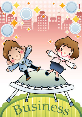 trampoline: businessman and businesswoman jumping on trampoline Illustration