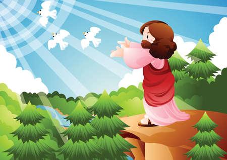 releasing: jesus releasing white doves