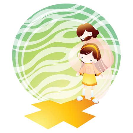 jésus guider une petite fille