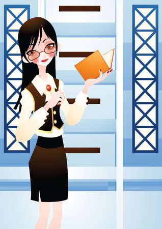 holding paper: businesswoman holding paper Illustration