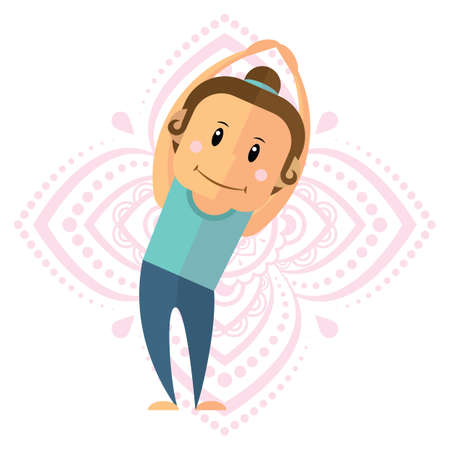 salute: girl practising yoga in side upward salute pose Illustration